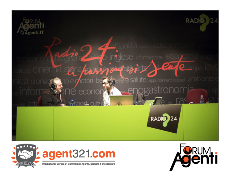 A Commercial Agent is interviewed on Radio24, live from Forum Agenti
